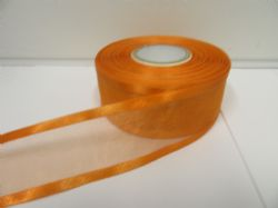 Light Orange satin edged organza ribbon, 2 or 25 metres, Double sided, 10mm, 15mm, 25mm, 40mm, 70mm